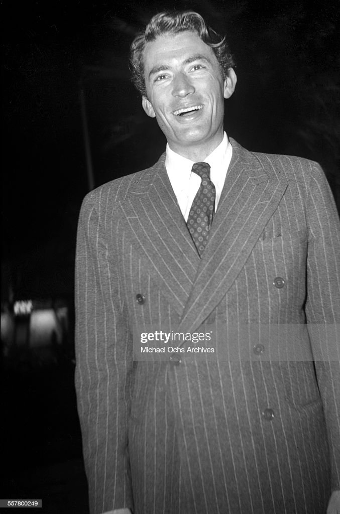 Actor <a gi-track='captionPersonalityLinkClicked' href=/galleries/search?phrase=Gregory+Peck&family=editorial&specificpeople=69992 ng-click='$event.stopPropagation()'>Gregory Peck</a> smiles as he poses in Los Angeles, California.