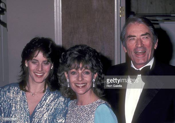 Actor Gregory Peck wife Veronique Peck and daughter Cecilia Peck attend the 54th Annual Academy Awards Governor's Ball on March 29 1982 at Beverly...