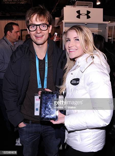 Actor Gregory Smith checking out the new Samsung Galaxy Tab at the Samsung Galaxy Tab Lift on January 21 2011 in Park City Utah