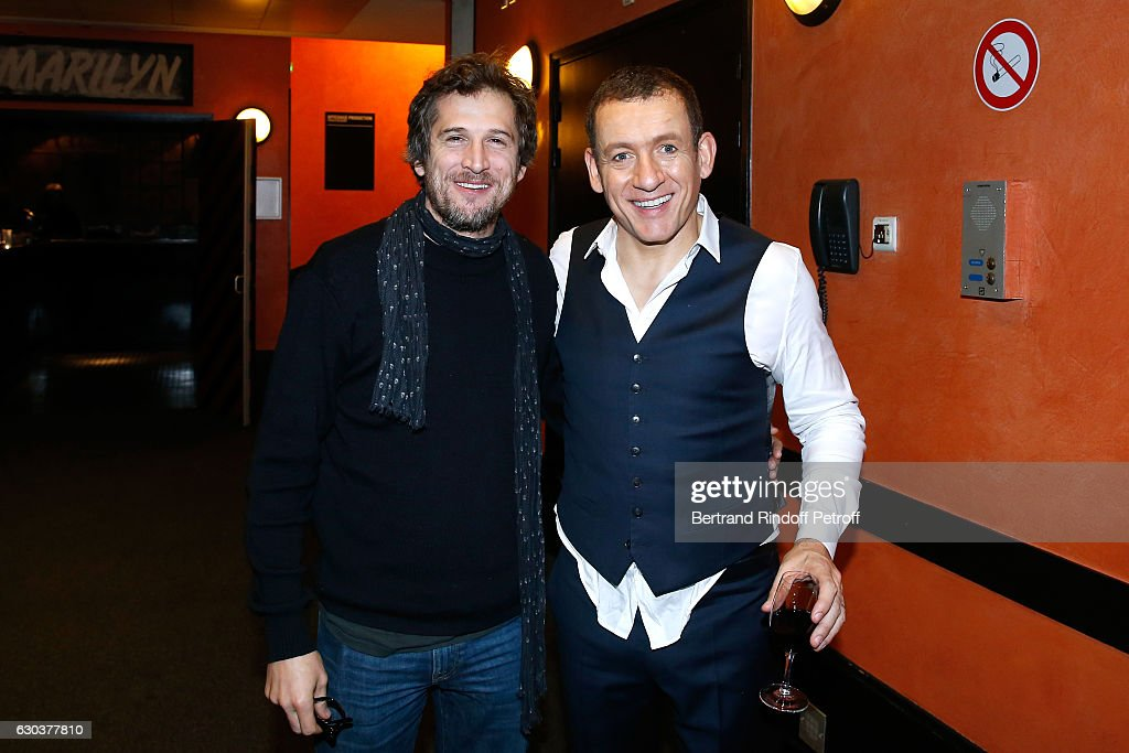 Actor Guillaume Canet and humorist Dany Boon pose Backstage after the triumph of the 'Dany De Boon Des Hauts-De-France' Show at L'Olympia on December 18, 2016 in Paris, France.