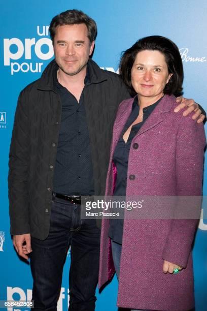 Actor Guillaume de Tonquedec and wife Christele de Tonquedec attend 'Un Profil pour Deux' Premiere at Cinema UGC Normandie on March 27 2017 in Paris...
