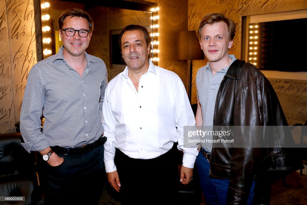 Actor Guillaume de Tonquedec, Chico and actor <a gi-track='captionPersonalityLinkClicked' href=/galleries/search?phrase=Alex+Lutz&family=editorial&specificpeople=5798872 ng-click='$event.stopPropagation()'>Alex Lutz</a> pose backstage after the Concert of 'Chico & The Gypsies' with 50 gypsy guitars at L'Olympia on April 14, 2014 in Paris, France.