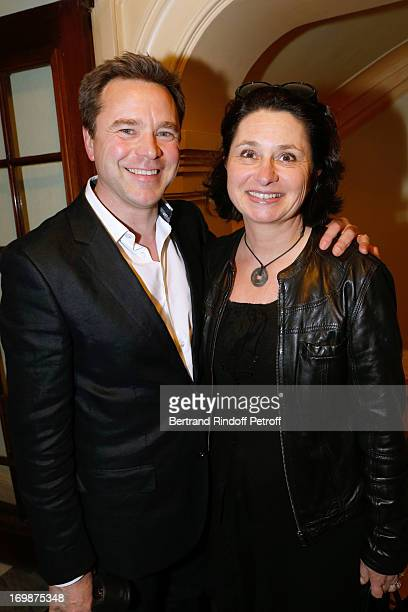 Actor Guillaume de Tonquedec with his wife Christele attend the delivery of the medal of the Legion of Honor to actress Francoise Fabian at Theatre...