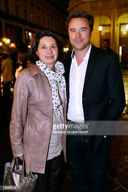 Actor Guillaume de Tonquedec with his wife Christelle attend 'Nina' Premiere at Theatre Edouard VII on September 16 2013 in Paris France