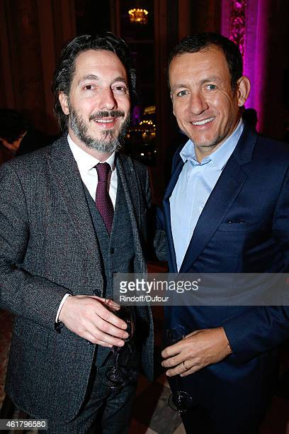 Actor Guillaume Gallienne and humorist Dany Boon attend Luc Besson receives the First 'Gold Medal of the Academy of Arts and Techniques of Cinema'...