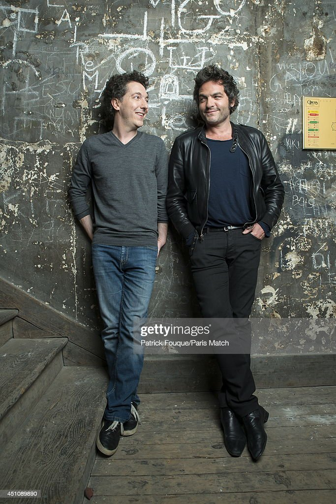 Actor Guillaume Gallienne and the singer <a gi-track='captionPersonalityLinkClicked' href=/galleries/search?phrase=Mathieu+Chedid&family=editorial&specificpeople=624503 ng-click='$event.stopPropagation()'>Mathieu Chedid</a> are photographed for Paris Match on may 27, 2014 in Paris, France.
