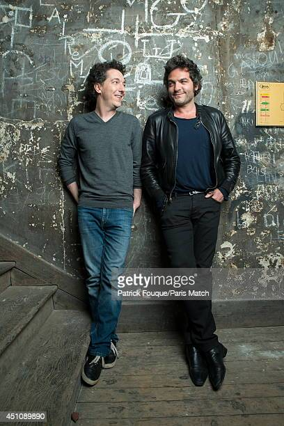 Actor Guillaume Gallienne and the singer Mathieu Chedid are photographed for Paris Match on may 27 2014 in Paris France