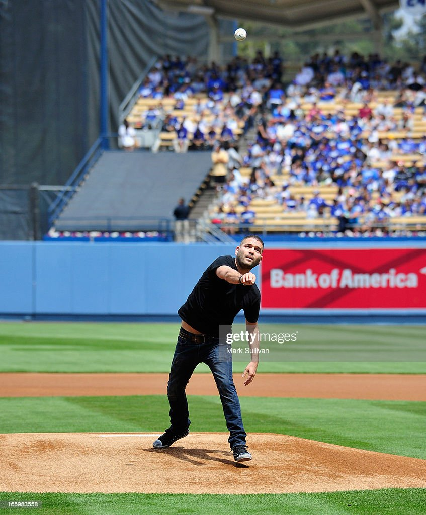 Actor <a gi-track='captionPersonalityLinkClicked' href=/galleries/search?phrase=Guillermo+Diaz+-+Actor&family=editorial&specificpeople=4603293 ng-click='$event.stopPropagation()'>Guillermo Diaz</a> throws out the ceremonial first pitch before the LA Dodgers vs Pittsburg Pirate game at Dodger Stadium on April 7, 2013 in Los Angeles, California.