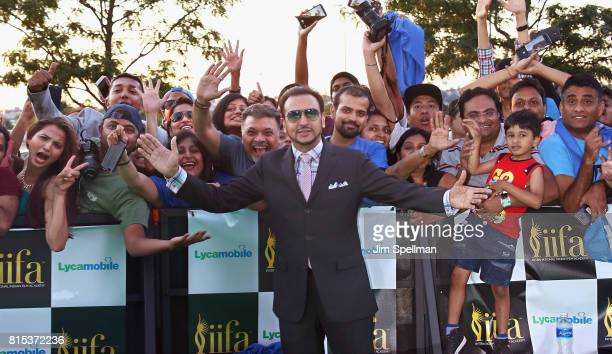 Actor Gulshan Grover poses with the fans at the 2017 International Indian Film Academy Festival at MetLife Stadium on July 14 2017 in East Rutherford...