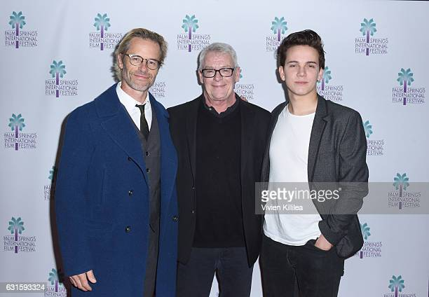 Actor Guy Pearce activist Cleve Jones and actor Austin McKenzie attend the North American Premiere of 'When We Rise' at the 28th Annual Palm Springs...