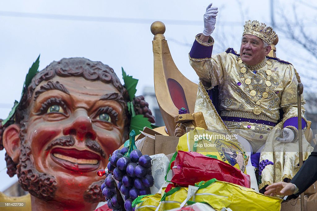 Actor G.W. Bailey reigning as King of Bacchus in the 2013 Krewe of Bacchus Mardi Gras Parade on February 10, 2013 in New Orleans, Louisiana.