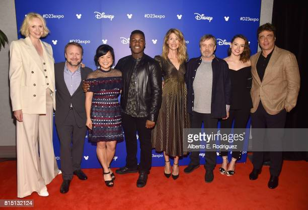 Actor Gwendoline Christie director Rian Johnson actors Kelly Marie Tran John Boyega Laura Dern Mark Hamill Daisy Ridley and Benicio del Toro of STAR...