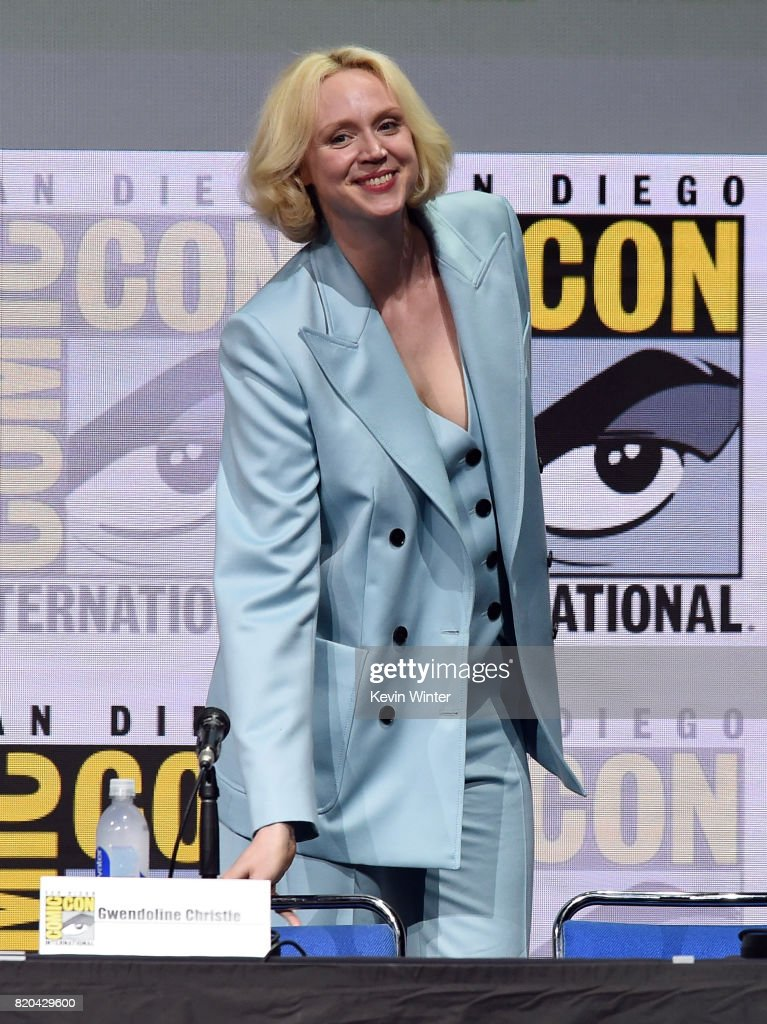 Actor Gwendoline Christie takes her seat onstage at Comic-Con International 2017 'Game Of Thrones' panel And Q+A Session at San Diego Convention Center on July 21, 2017 in San Diego, California.