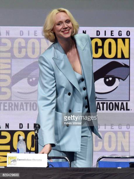 Actor Gwendoline Christie takes her seat onstage at ComicCon International 2017 'Game Of Thrones' panel And QA Session at San Diego Convention Center...