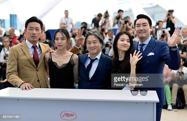 Actor Ha JungWoo actress Kim MinHee director Park ChanWook actress Kim TaeRi and actor Cho JinWoong attend 'The Handmaiden ' photocall during the...