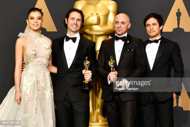 Actor Hailee Steinfeld director Alan Barillaro and producer Marc Sondheimer winners of Best Animated Short Film for 'Piper' and actor Gael Garcia...