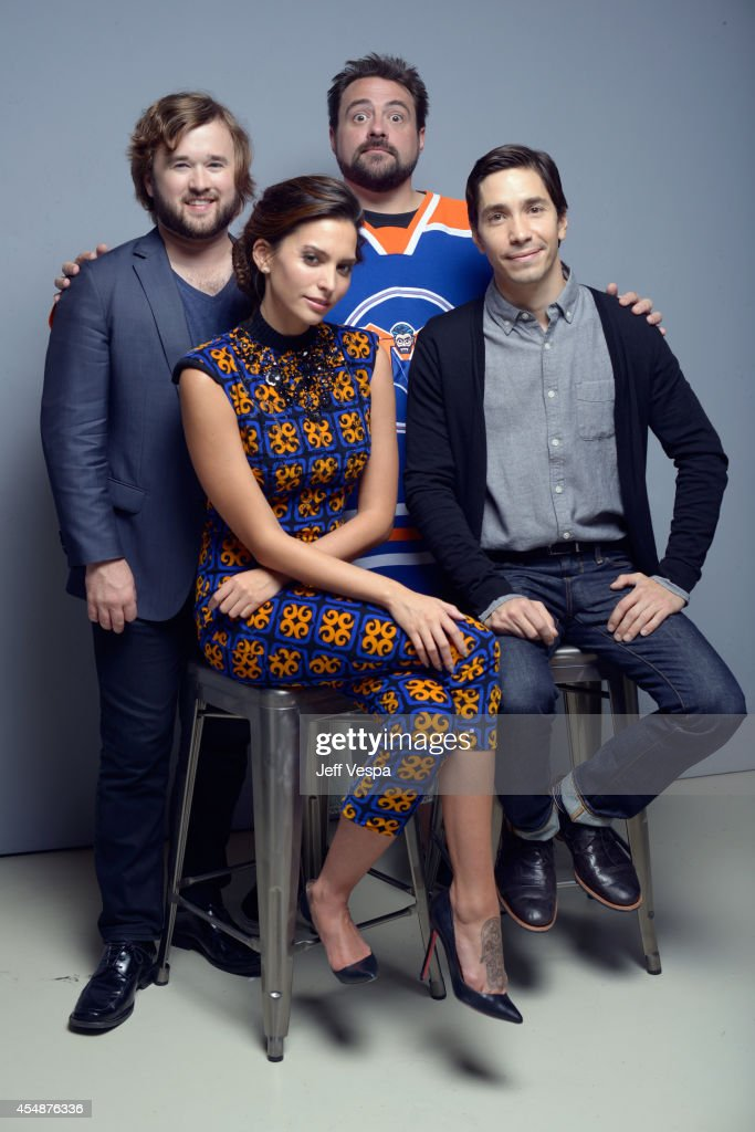 Actor Haley Joel Osment actress Genesis Rodriguez director Kevin Smith and actor Justin Long of 'Tusk' pose for a portrait during the 2014 Toronto...