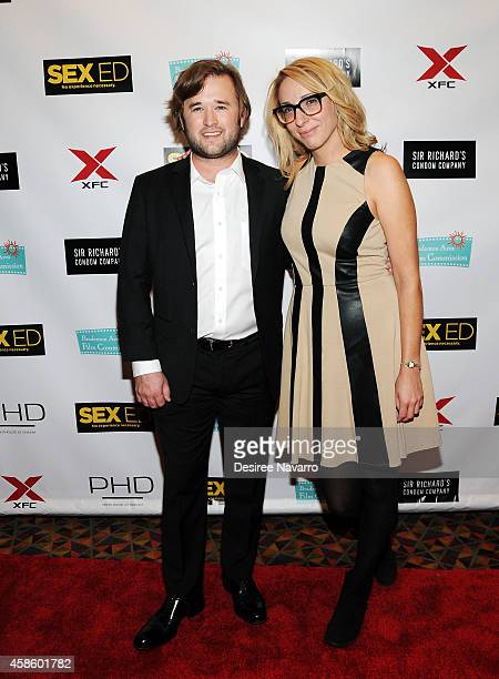 Actor Haley Joel Osment and coproducer Jennifer Glynn attend 'Sex Ed' New York Premiere at AMC Empire 25 theater on November 7 2014 in New York City