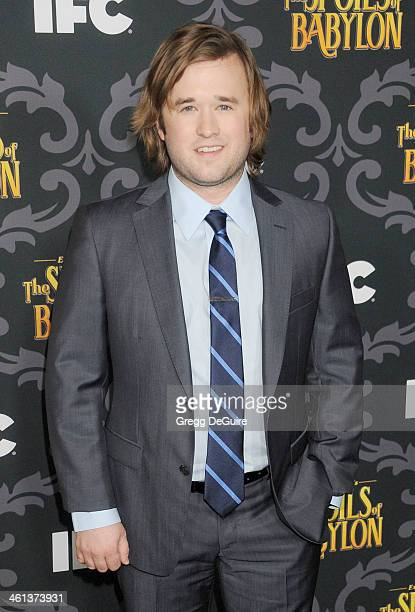 Actor Haley Joel Osment arrives at the Los Angeles premiere of 'The Spoils Of Babylon' at DGA Theater on January 7 2014 in Los Angeles California