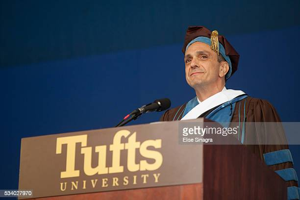 Actor Hank Azaria speaks during commencement at Tufts University on May 22 2016 in Boston Massachusetts