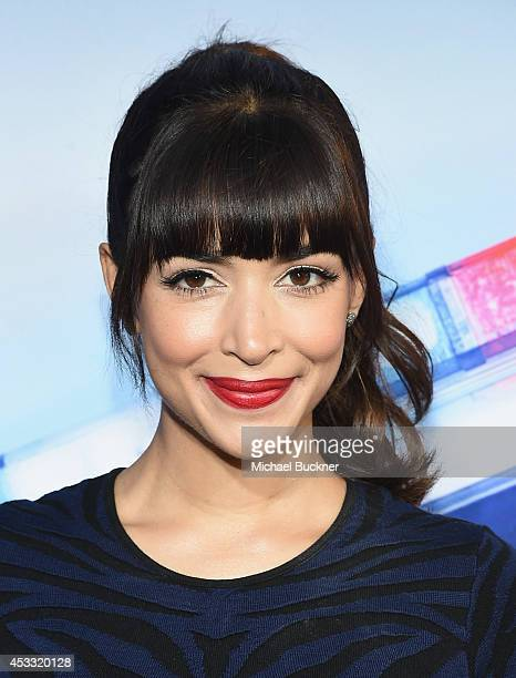 Actor Hannah Simone arrives at the premiere of Twentieth Century Fox's 'Let's Be Cops' at ArcLight Hollywood on August 7 2014 in Hollywood California