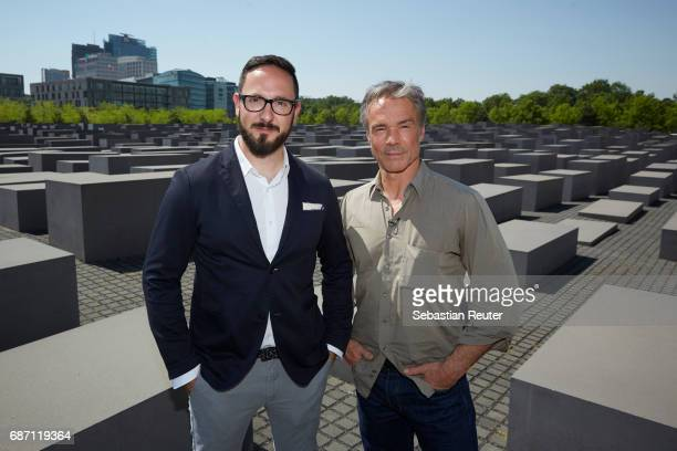 Actor Hannes Jaenicke and Emanuel Rotstein Director Production HISTORY Germany are seen on set during the shooting of the new documentary series...