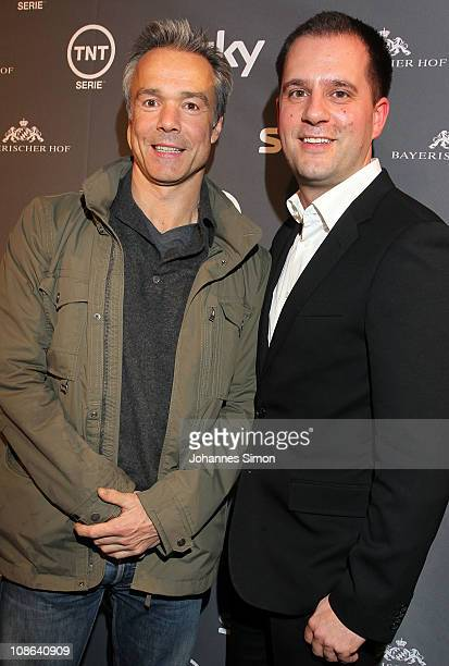 Actor Hannes Jaenicke and Hannes Heyelmann Managing Director Turner Broadcasting System Deutschland attend 'Boardwalk Empire' Preview Event at Hotel...