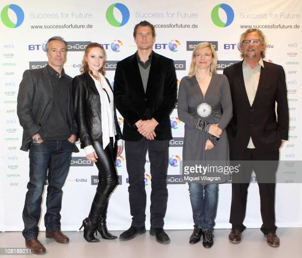 Actor Hannes Jaenicke model Barbara Meier former goalkeeper Jens Lehmann Michaela Merten and Martin J Krug initiator and organizer of the Success for...