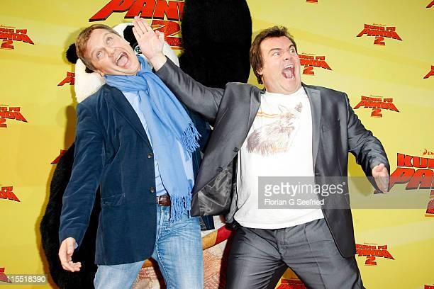 Actor Hape Kerkeling and actor Jack Black attend the Premiere of 'Kung Fu Panda 2' at the CineMaxx on June 7 2011 in Berlin Germany