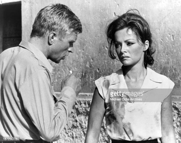 Actor Hardy Krnger and actress Virna Lisi on set of the United Artist movie 'The Secret of Santa Vittoria' in 1969