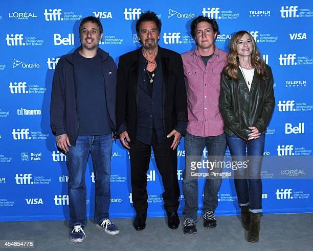 Actor Harmony Korine actor Al Pacino director David Gordon Green and actress Holly Hunter pose at 'Manglehorn' Press Conference during the 2014...