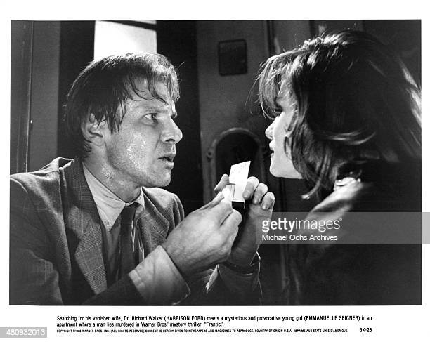 Actor Harrison Ford and actress Emmanuelle Seigner in a scene from the Warner Bros movie ' Frantic' circa 1988