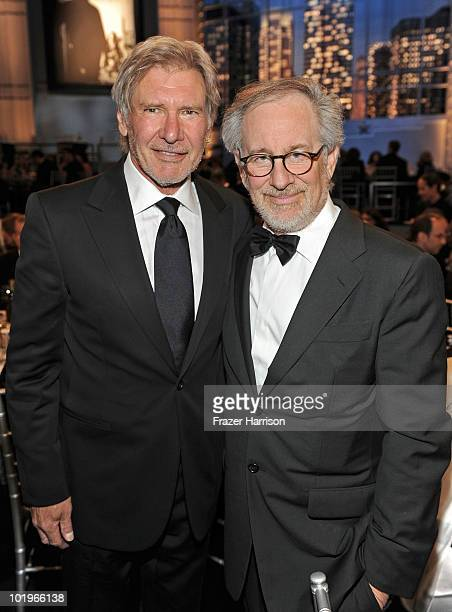 Actor Harrison Ford and AFI Board Member Steven Spielberg in the audience during the 38th AFI Life Achievement Award honoring Mike Nichols held at...