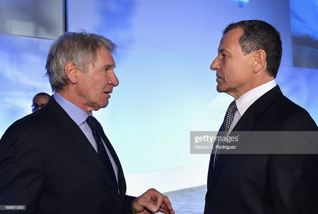 Actor Harrison Ford and Chairman and CEO of the Walt Disney Company Bob Iger attend Conservation International's 17th Annual Los Angeles Dinner at Montage Beverly Hills on April 4, 2013 in Beverly Hills, California.