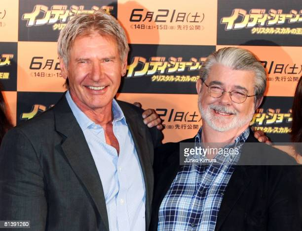 Actor Harrison Ford and excutive producer and writer George Lucas pose during a photocall promoting 'Indiana Jones and the Kingdom of the Crystal...