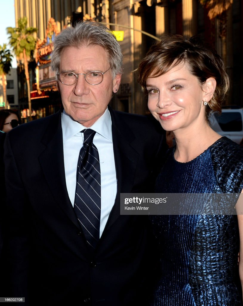 Actor <a gi-track='captionPersonalityLinkClicked' href=/galleries/search?phrase=Harrison+Ford+-+Actor+-+Born+1942&family=editorial&specificpeople=11508906 ng-click='$event.stopPropagation()'>Harrison Ford</a> (L) and his wife actress <a gi-track='captionPersonalityLinkClicked' href=/galleries/search?phrase=Calista+Flockhart&family=editorial&specificpeople=204604 ng-click='$event.stopPropagation()'>Calista Flockhart</a> arrive at the premiere of Warner Bros. Pictures' and Legendary Pictures' '42' at the Chinese Theatre on April 9, 2013 in Los Angeles, California.