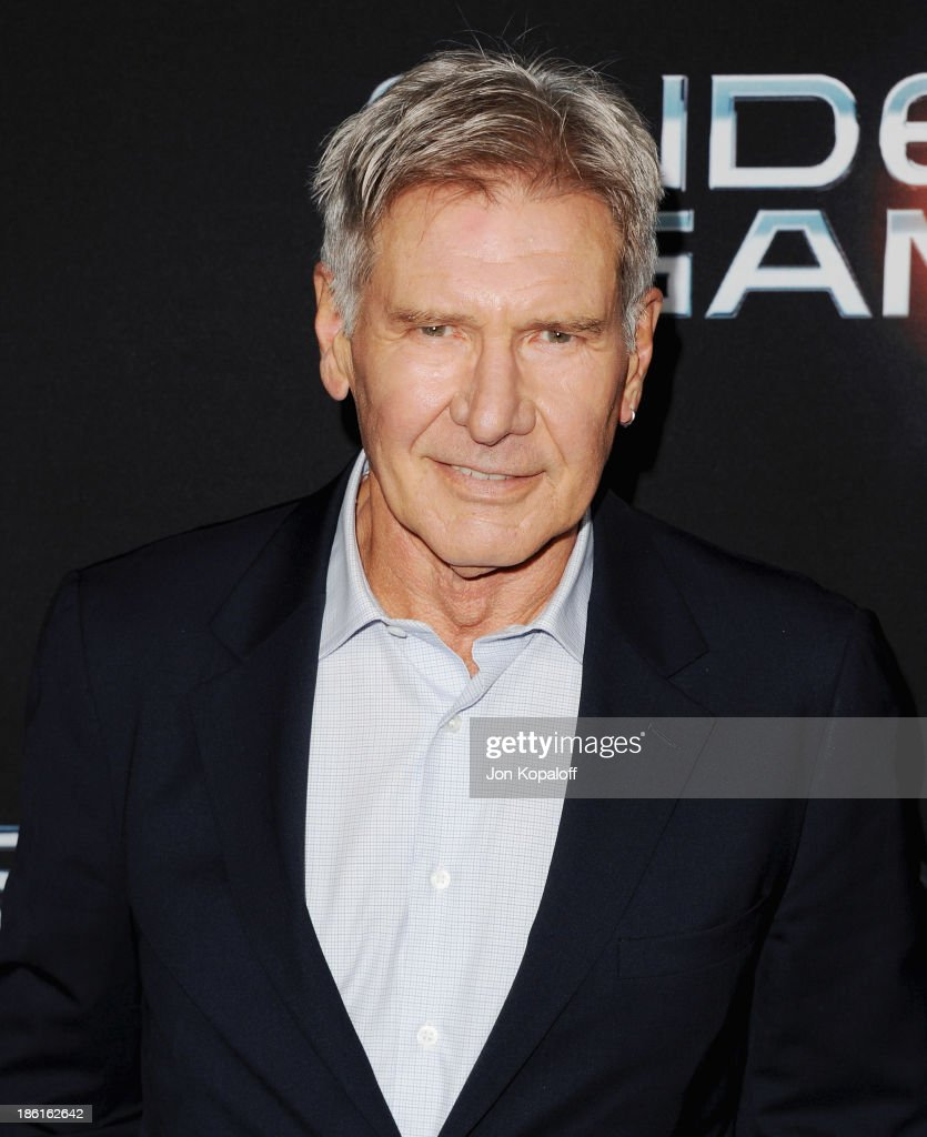 Actor <a gi-track='captionPersonalityLinkClicked' href=/galleries/search?phrase=Harrison+Ford+-+Actor+-+Born+1942&family=editorial&specificpeople=11508906 ng-click='$event.stopPropagation()'>Harrison Ford</a> arrives at the Los Angeles Premiere 'Ender's Game' at TCL Chinese Theatre on October 28, 2013 in Hollywood, California.