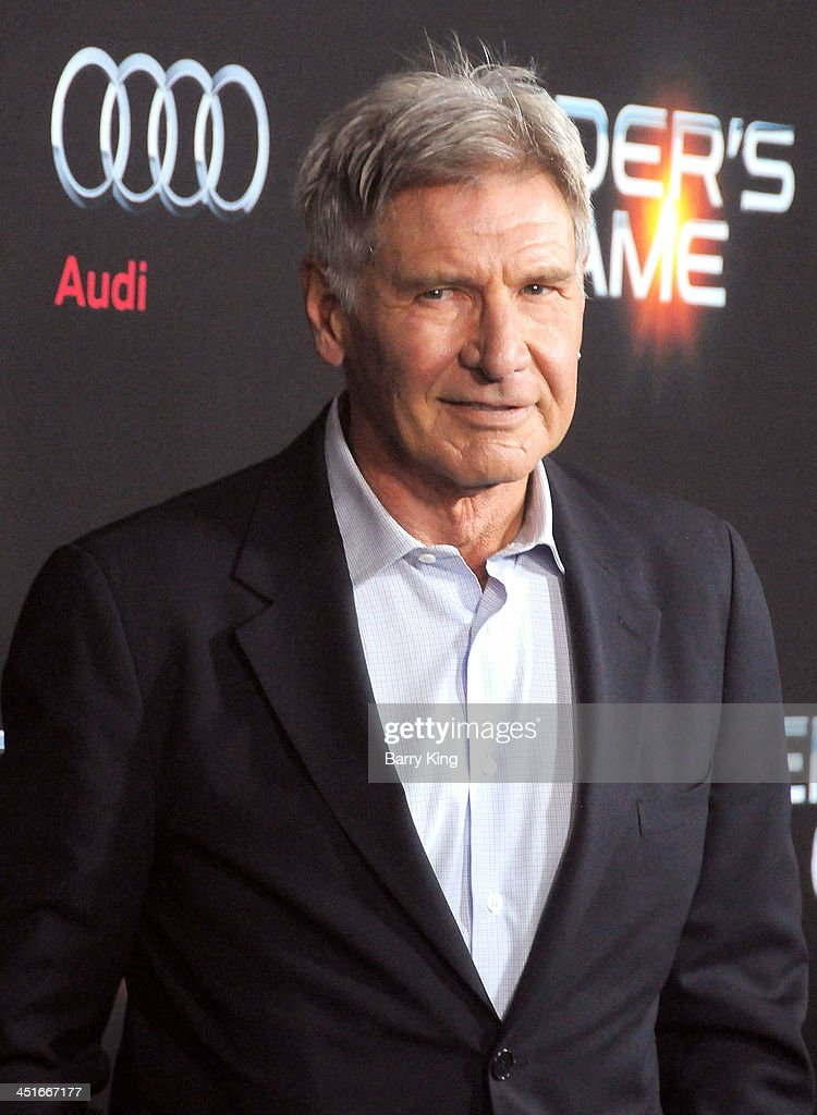 Actor <a gi-track='captionPersonalityLinkClicked' href=/galleries/search?phrase=Harrison+Ford+-+Actor+-+Born+1942&family=editorial&specificpeople=11508906 ng-click='$event.stopPropagation()'>Harrison Ford</a> arrives at the Los Angeles Premiere 'Ender's Game' on October 28, 2013 at TCL Chinese Theatre in Hollywood, California.