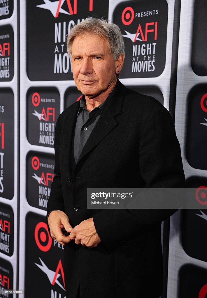 Actor <a gi-track='captionPersonalityLinkClicked' href=/galleries/search?phrase=Harrison+Ford+-+Actor+-+Nacido+en+1942&family=editorial&specificpeople=11508906 ng-click='$event.stopPropagation()'>Harrison Ford</a> arrives on the red carpet for Target Presents AFI's Night at the Movies at ArcLight Cinemas on April 24, 2013 in Hollywood, California.