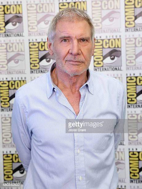 "Actor Harrison Ford at the Hall H Panel for ""Star Wars The Force Awakens"" during ComicCon International 2015 at the San Diego Convention Center on..."