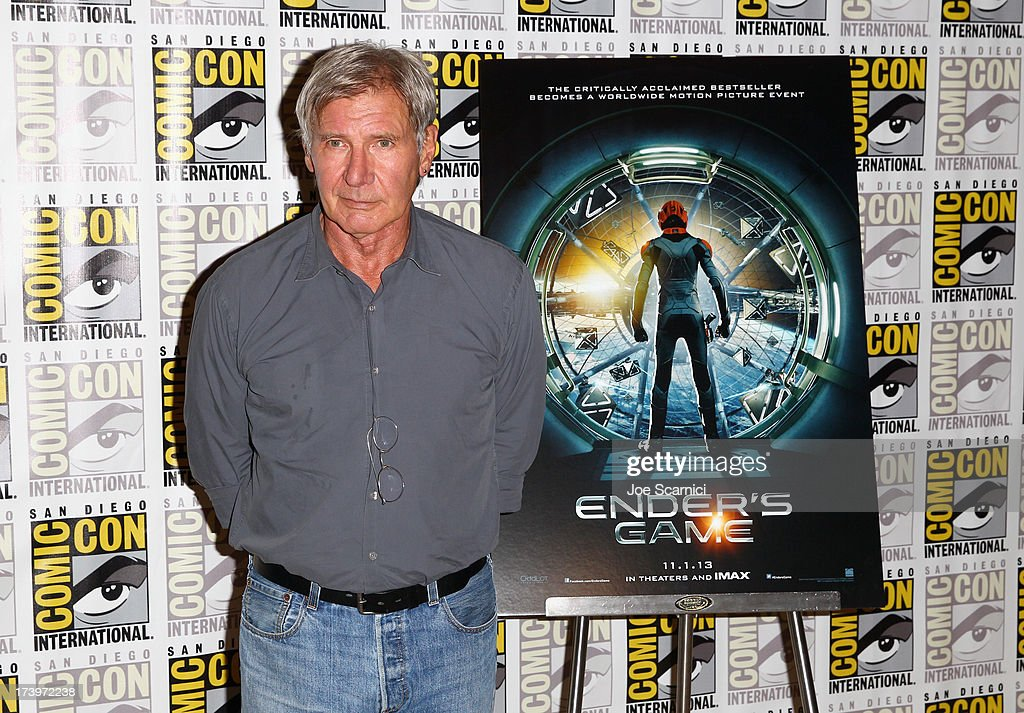 Actor Harrison Ford attends 'Ender's Game' Comic-Con Press Line at San Diego Convention Center on July 18, 2013 in San Diego, California.