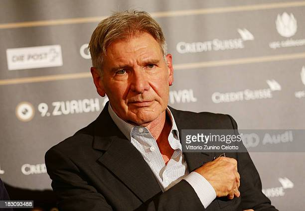 Actor Harrison Ford attends the Golden Eye For Lifetime Achievement press conference on October 4 2013 in Zurich Switzerland
