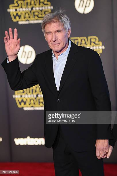 Actor Harrison Ford attends the Premiere of Walt Disney Pictures and Lucasfilm's 'Star Wars The Force Awakens' on December 14 2015 in Hollywood...
