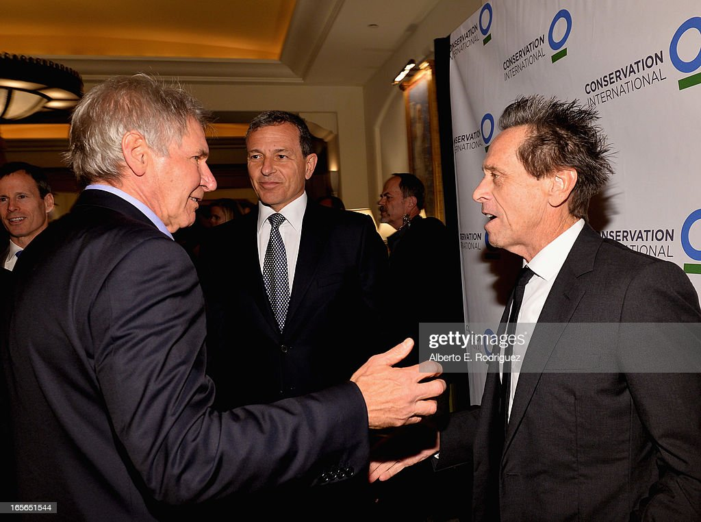 Actor Harrison Ford, Chairman and CEO of The Walt Disney Company Bob Iger and producer Brian Grazer attend Conservation International's 17th Annual Los Angeles Dinner at Montage Beverly Hills on April 4, 2013 in Beverly Hills, California.