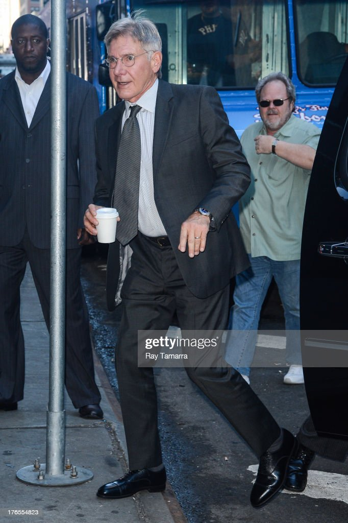 Actor <a gi-track='captionPersonalityLinkClicked' href=/galleries/search?phrase=Harrison+Ford+-+Actor+-+Born+1942&family=editorial&specificpeople=11508906 ng-click='$event.stopPropagation()'>Harrison Ford</a> enters the 'Good Morning America' taping at the ABC Times Square Studios on August 15, 2013 in New York City.