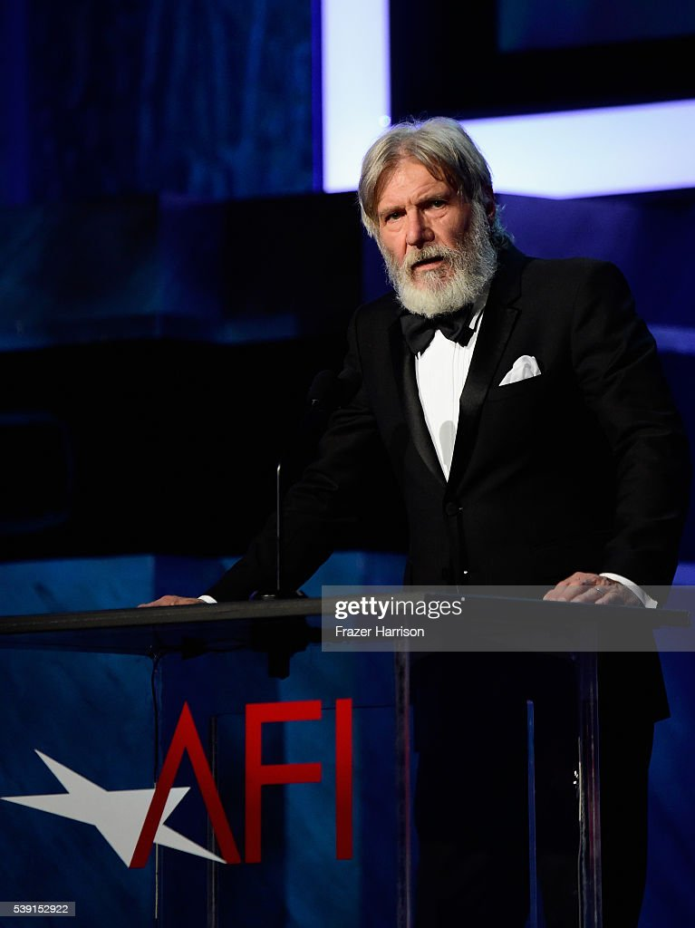 Actor Harrison Ford onstage during American Film Institute's 44th Life Achievement Award Gala Tribute show to John Williams at Dolby Theatre on June 9, 2016 in Hollywood, California. 26148_001