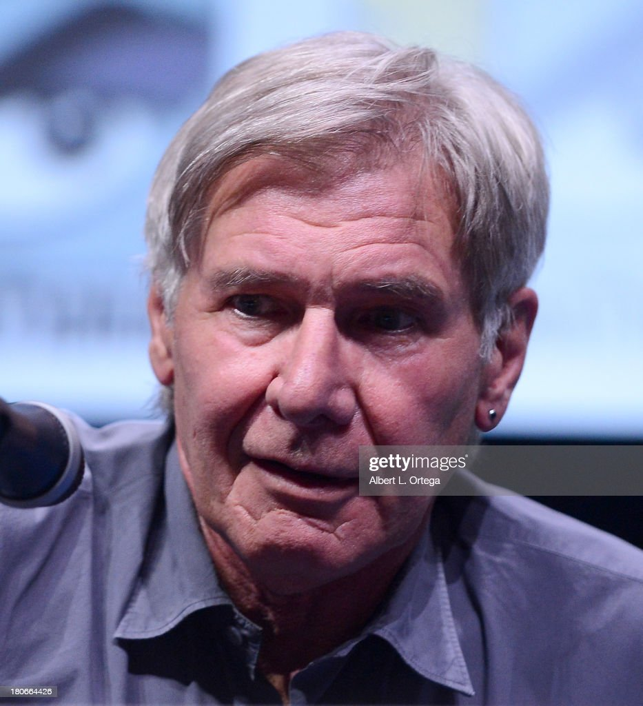 Actor <a gi-track='captionPersonalityLinkClicked' href=/galleries/search?phrase=Harrison+Ford+-+Actor+-+Born+1942&family=editorial&specificpeople=11508906 ng-click='$event.stopPropagation()'>Harrison Ford</a> participates in Summit Entertainment's 'Divergent' and 'Ender's Game' panels on Day 1 of the 2013 Comic-Con International held at San Diego Convention Center on Thursday July 18, 2012 in San Diego, California.
