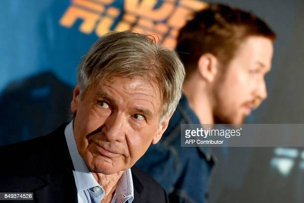 US actor Harrison Ford poses during the photocall of the film 'Blade Runner 2049' in Madrid on September 19 2017 / AFP PHOTO / GABRIEL BOUYS