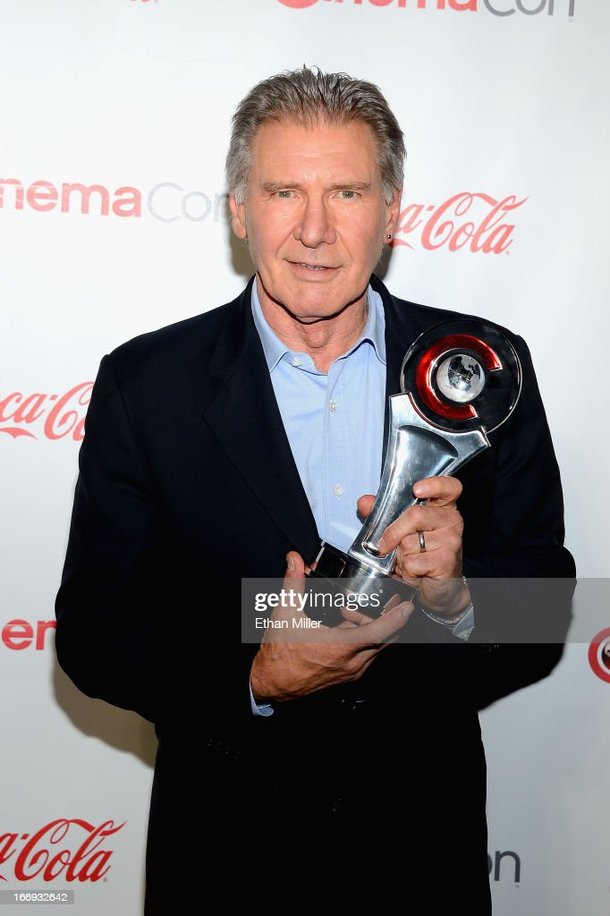 Actor <a gi-track='captionPersonalityLinkClicked' href=/galleries/search?phrase=Harrison+Ford+-+Actor+-+Born+1942&family=editorial&specificpeople=11508906 ng-click='$event.stopPropagation()'>Harrison Ford</a>, recipient of the Lifetime Achievement Award, arrives at the CinemaCon awards ceremony at the Pure Nightclub at Caesars Palace during CinemaCon, the official convention of the National Association of Theatre Owners, on April 18, 2013 in Las Vegas, Nevada.