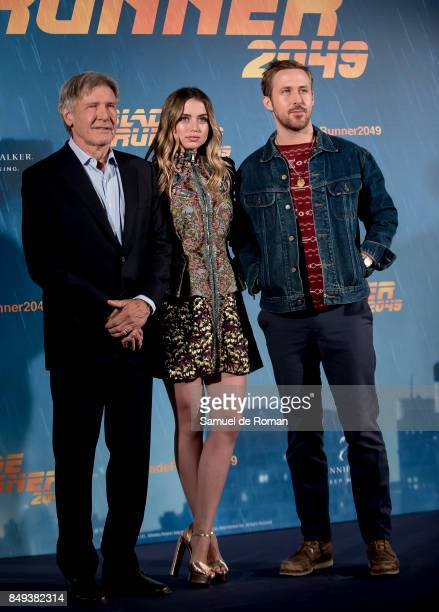Actor Harrison Ford Ryan Gosling and Ana de Armasduring 'Blade Runner 2049' Madrid Photocall on September 19 2017 in Madrid Spain
